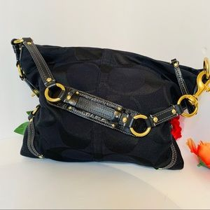 Coach Carly Large Black Canvas/Leather Bag L/Used